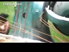 Desi woman caught bathing outdoors