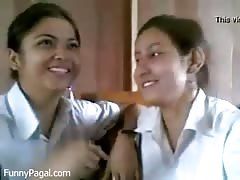 Two Indian School Girl Kissing In Class