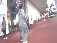 Curvy Indian lady in tight grey sweats!